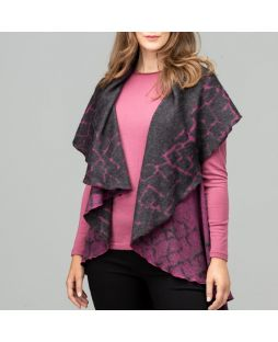 Cobblestone Border Wool Cape - Fuchsia / Charcoal