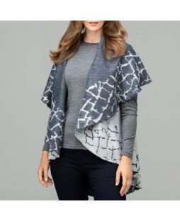 Cobblestone Border Wool Poncho - Navy / Charcoal