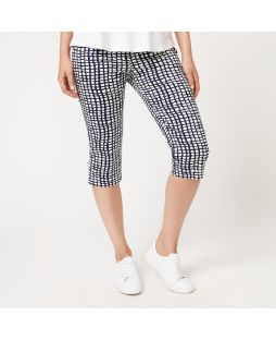 Printed Cotton Capri Pant - Navy/White