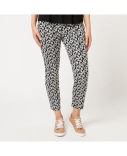 Printed Cotton 7/8 Length Pants - Black/White