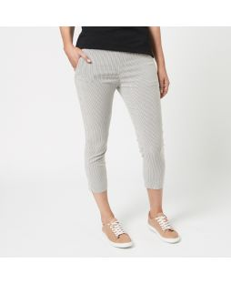 Yarn Dyed Cotton Striped Pants - Black