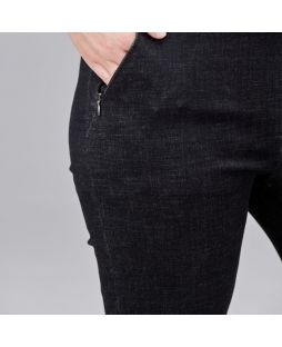 PA015 BLA|Regular Length Straight Leg Denim Pant - Black