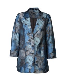 Silk Open Tunic Jacket Blue
