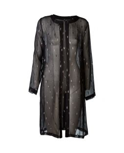 Silk Open Tunic Jacket Black