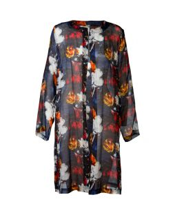 Silk Open Tunic Jacket Floral