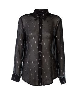 Silk Florence Collared Blouse Black