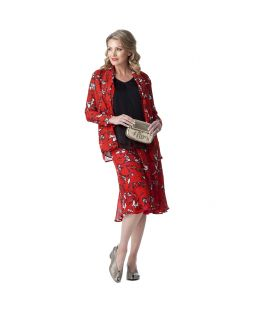 Ella Silk Jacket & Scarf Rouge