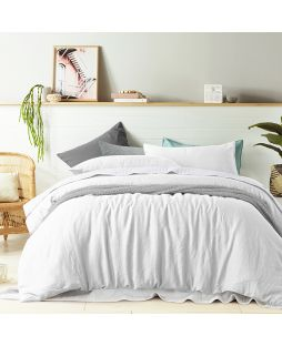 Linen Quilt Cover Set - White