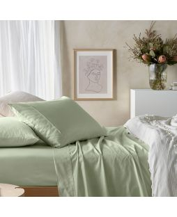 Eucalyptus Cotton Sheet Set - Fog Green