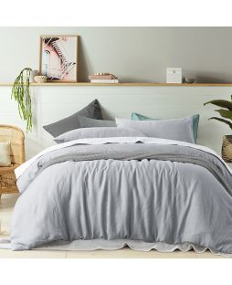 Linen Quilt Cover Set - Dove Grey