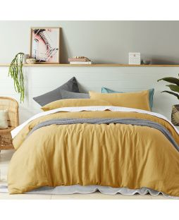 Linen Quilt Cover Set - Ochre