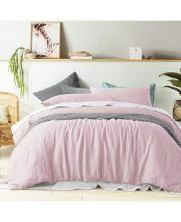 Linen Quilt Cover Set - Blush Pink