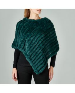 Rabbit Fur Poncho Forest