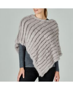 Rabbit Fur Poncho Heather