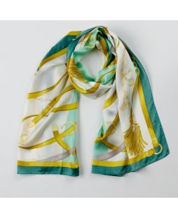 100% Silk Scarf Chain Print Green