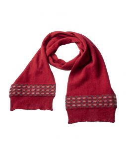 Possum Wave Trim Scarf Red