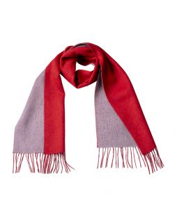 Cashmere Scarf - 2 Tone Red/Lt Grey