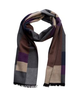 100% Silk Scarf Purple Grey Check