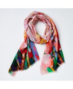 Print Scarf 100% Wool - Red Tulip