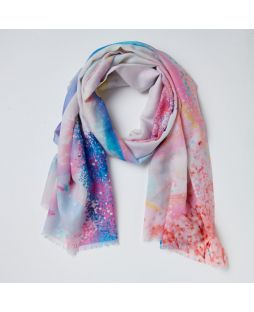 Print Scarf 100% Wool - Purple Forest