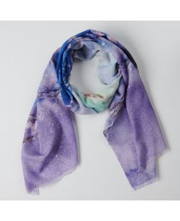 100% Wool Printed Scarf Violet Blossom
