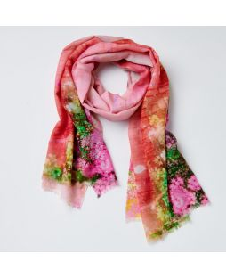 Print Scarf 100% Wool- Red Window