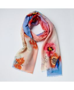 Print Scarf 100% Wool- Coral Bouquet