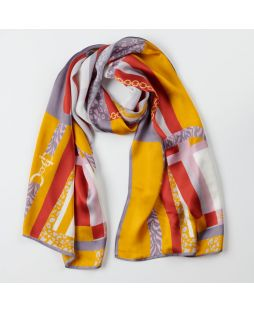 100% Silk Scarf Retro Colour Block