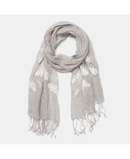 LINEN EMBROIDERED SCARF Grey