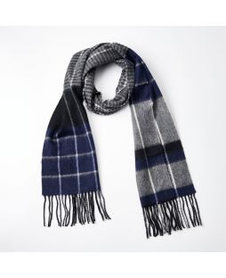 100% WOOL GREY NAVY STRIPE CHECK SCARF