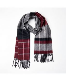 100% WOOL GREY RED STRIPE CHECK SCARF