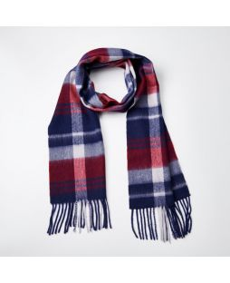 100% WOOL RED NAVY CHECK SCARF