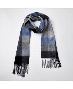 100% WOOL BABY BLUE GREY CHECK SCARF