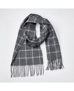 100% WOOL GREY WHITE CHECK SCARF