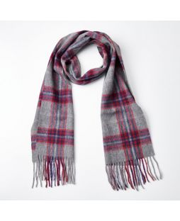 100% WOOL GREY RED CHECK SCARF