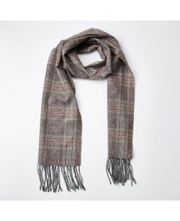 100% WOOL MIN HOUNDSTOOTH GRY CHEK SCARF