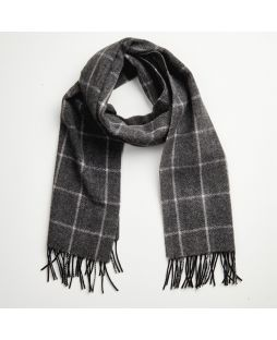 Cashmere Lambswool Scarf Charcoal White Check