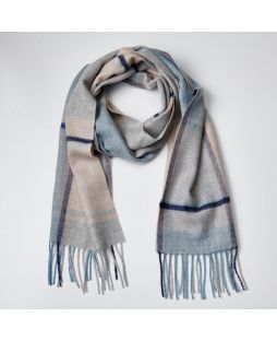 100% Lambswool Scarf Check Blue/Natural