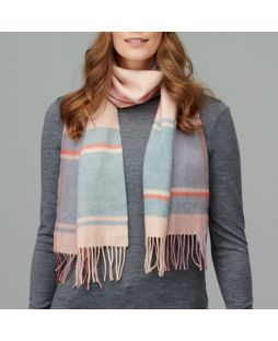 100% Lambswool Check Scarf Camel/DuckEgg