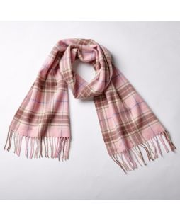 Cashmere Pale Pink Multi Check Scarf
