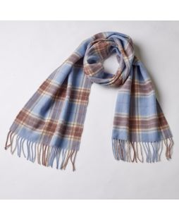 Cashmere Pale Blue Multi Check Scarf