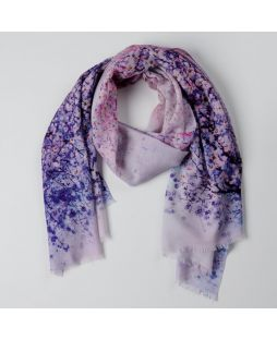 100% Wool Printed Scarf Spring Violet Beauty
