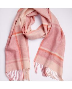 100% Lambswool Scarf  - Camel/Cinnamon Check