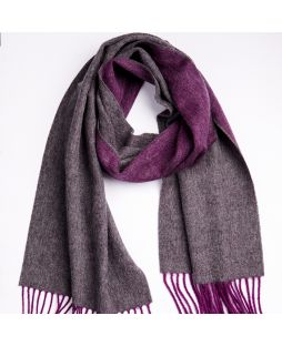 100% Lambswool Scarf - Amethyst/Charcoal