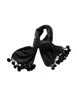 Pure Wool & Rabbit Pom Pom Shawl - Black