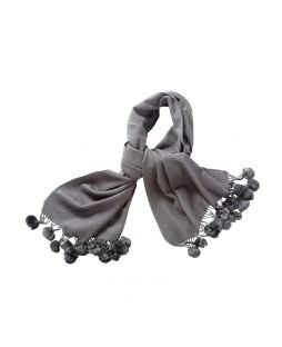 Pure Wool & Rabbit Pom Pom Shawl Grey