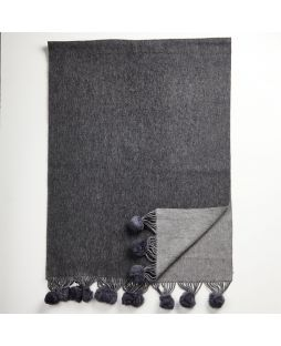 Lambswool Cashmere Shawl 2 Tone Grey with Rabbit Pom Poms