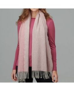 100% Lambswool Shawl 2 Tone Dusty Pink