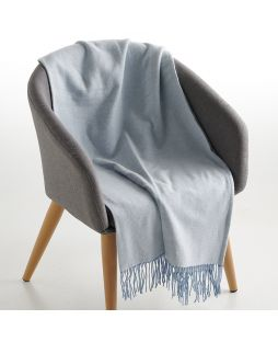 100% Cotton Throw Herringbone Light Blue