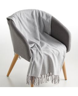 100% Cotton Throw Herringbone Light Grey